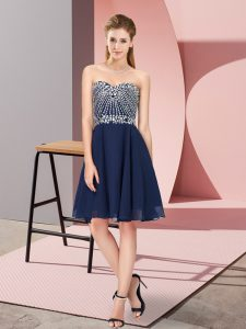 Deluxe Sleeveless Chiffon Knee Length Lace Up Pageant Dress in Navy Blue with Beading
