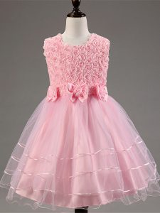 Gorgeous Scoop Sleeveless Pageant Dress Womens Knee Length Ruffled Layers and Hand Made Flower Baby Pink Tulle