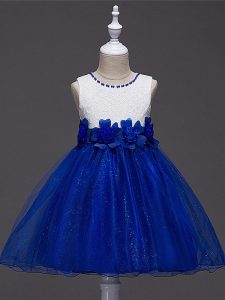 Adorable Royal Blue Zipper Pageant Dress Lace and Hand Made Flower Sleeveless Knee Length