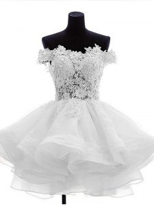 White Organza Zipper High School Pageant Dress Sleeveless Mini Length Beading and Lace and Ruffles