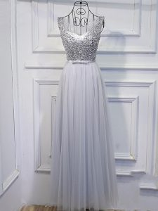 Lovely Scoop Sleeveless Custom Made Pageant Dress Floor Length Beading and Sequins Grey Tulle
