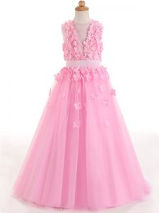 Lovely Tulle Scoop Sleeveless Zipper Appliques and Bowknot Winning Pageant Gowns in Rose Pink