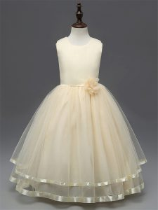 Champagne Scoop Zipper Hand Made Flower Pageant Gowns Sleeveless