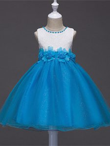 High End Tulle Scoop Sleeveless Zipper Lace and Hand Made Flower Pageant Dress in Baby Blue