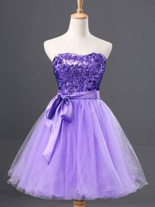 Nice Mini Length Zipper Custom Made Pageant Dress Lavender and In with Sequins