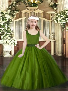 Trendy Sleeveless Tulle Floor Length Zipper Child Pageant Dress in Olive Green with Beading