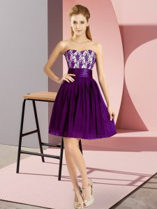 Fashionable Purple Sleeveless Chiffon Zipper Pageant Dress for Teens for Prom and Party