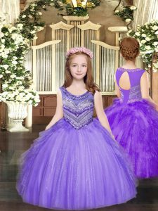 Tulle Sleeveless Floor Length Winning Pageant Gowns and Beading and Ruffles