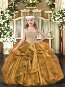 Affordable V-neck Sleeveless Lace Up Pageant Gowns Brown Organza