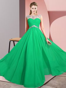 Dramatic Green Sleeveless Beading Floor Length Evening Gowns