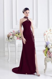 Burgundy Sleeveless Elastic Woven Satin Sweep Train Lace Up Custom Made Pageant Dress for Prom and Party