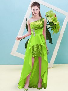 Fabulous Yellow Green Sleeveless Beading and Sequins High Low Pageant Gowns