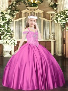 Fuchsia Satin Lace Up Off The Shoulder Sleeveless Floor Length Pageant Dress Wholesale Beading