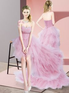 Charming High Low Baby Pink Pageant Dresses Tulle Sleeveless Beading and Ruffled Layers