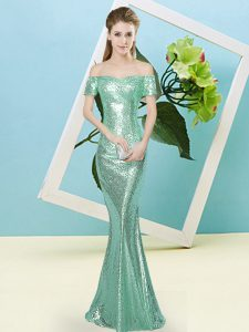 Shining Short Sleeves Sequined Floor Length Zipper Glitz Pageant Dress in Apple Green with Sequins