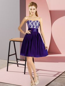 Chic Purple Sweetheart Neckline Lace Pageant Gowns Sleeveless Zipper