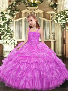 Eye-catching Lilac Ball Gowns Organza Straps Sleeveless Beading and Ruffled Layers and Pick Ups Floor Length Lace Up Pageant Dress for Girls