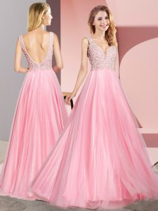 Most Popular Sleeveless Tulle Floor Length Zipper Custom Made Pageant Dress in Watermelon Red with Lace