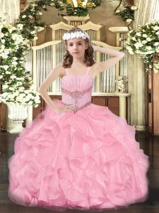 Glorious Rose Pink Ball Gowns Straps Sleeveless Organza Floor Length Zipper Beading and Ruffles Little Girls Pageant Gowns