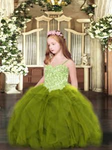 Olive Green Sleeveless Floor Length Appliques and Ruffles Lace Up Flower Girl Dresses