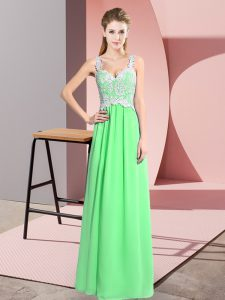 Chiffon V-neck Sleeveless Zipper Lace Pageant Dress Womens in Apple Green