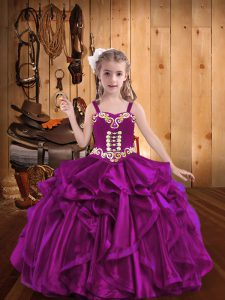 Hot Sale Embroidery and Ruffles Winning Pageant Gowns Fuchsia Lace Up Sleeveless Floor Length