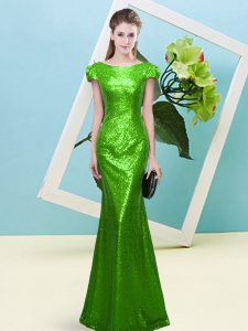 High Quality Cap Sleeves Floor Length Sequins Zipper Glitz Pageant Dress with