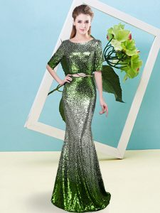 Ideal Sequined Half Sleeves Floor Length Pageant Dress for Teens and Sequins and Belt