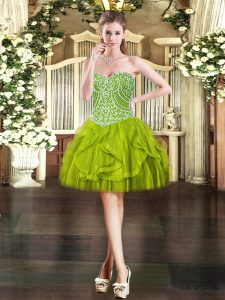 Mini Length Olive Green Pageant Dress Womens Sweetheart Sleeveless Lace Up
