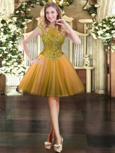 Orange Cap Sleeves Tulle Zipper Pageant Dress Wholesale for Prom and Party