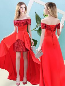 Super High Low Red High School Pageant Dress Elastic Woven Satin and Sequined Short Sleeves Beading