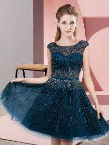 Super Navy Blue Tulle Backless Pageant Gowns Sleeveless Knee Length Beading