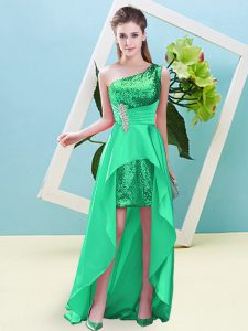 Turquoise Sleeveless Elastic Woven Satin and Sequined Lace Up Pageant Dress for Prom and Party