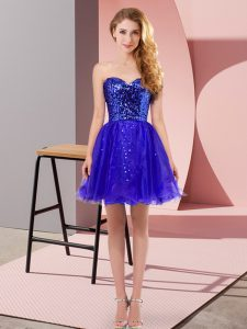 Sophisticated Tulle Sweetheart Sleeveless Zipper Sequins Custom Made Pageant Dress in Blue