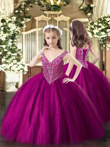 Floor Length Lace Up Flower Girl Dresses Fuchsia for Party and Quinceanera with Beading