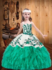 Sleeveless Floor Length Embroidery and Ruffles Lace Up Girls Pageant Dresses with Turquoise