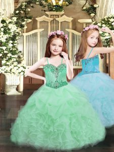 Sweet Beading and Ruffles and Pick Ups Pageant Gowns For Girls Apple Green Lace Up Sleeveless Floor Length