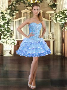 Flare Ball Gowns High School Pageant Dress Light Blue Sweetheart Organza Sleeveless Mini Length Lace Up