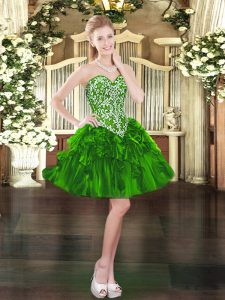 Green Organza Lace Up Pageant Dress Toddler Sleeveless Mini Length Beading and Ruffles
