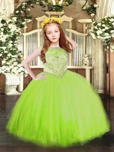 Luxurious Sleeveless Tulle Zipper Little Girl Pageant Gowns for Party and Quinceanera