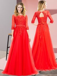 Discount Tulle Square 3 4 Length Sleeve Lace Up Lace Evening Gowns in Red