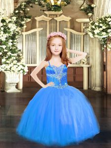 High Low Blue Girls Pageant Dresses Spaghetti Straps Sleeveless Lace Up