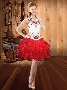 Suitable Ball Gowns Pageant Dress Womens Red Halter Top Organza Sleeveless Mini Length Lace Up