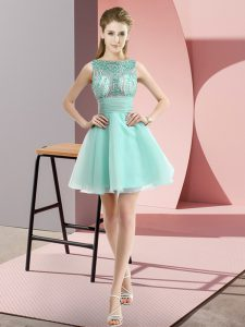 Fancy Apple Green Sleeveless Mini Length Beading and Bowknot Zipper Pageant Dress for Teens