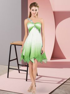 One Shoulder Sleeveless Fading Color Pageant Dress for Womens Beading Lace Up