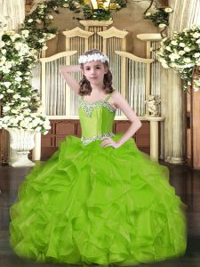 Ball Gowns Straps Sleeveless Organza Floor Length Lace Up Beading and Ruffles Kids Formal Wear