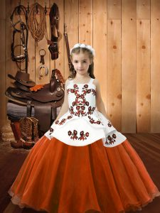 Glorious Sleeveless Lace Up Floor Length Embroidery Kids Formal Wear