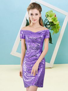 Off The Shoulder Short Sleeves Zipper Pageant Dress for Teens Lavender Sequined