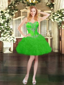 High End Sleeveless Organza Mini Length Lace Up Pageant Dresses in Green with Beading and Ruffles and Pick Ups