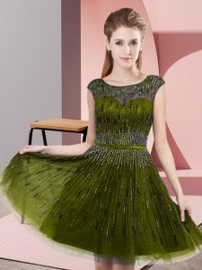 Customized Olive Green Sleeveless Knee Length Beading Backless Pageant Dress for Womens